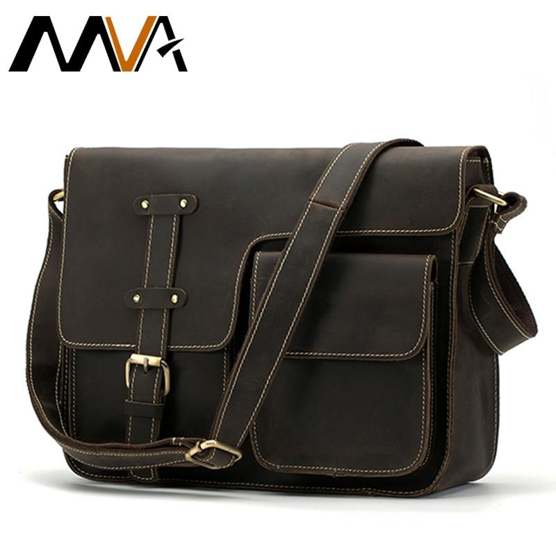 MVA Crazy Horse Genuine Leather Men's Bags Crossbody Bags Zipper vintage messenger bag men's shoulder bag genuine leather 1050 genuine leather