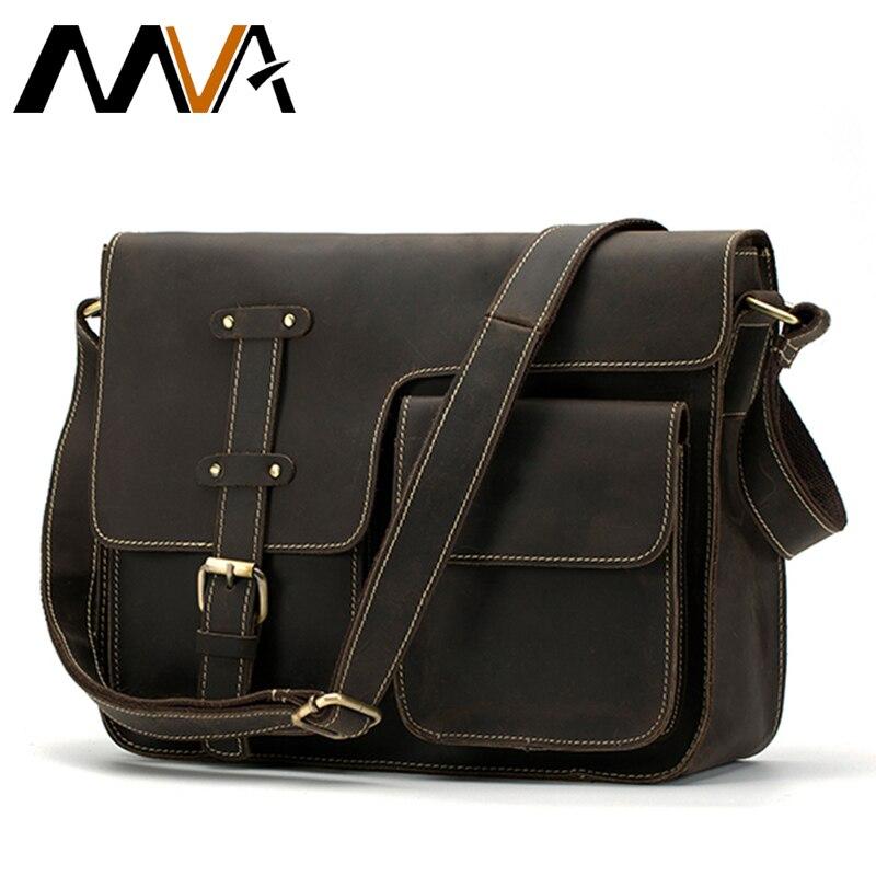 MVA Messenger bag men's shoulder bag Genuine Leather Men's Bags Crazy Horse male man Vintage Crossbody Bags Leather Handbag 1050
