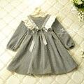 Retail Baby Girl Arco Princesa Vestido Contton Niños Gruesas de Manga Larga de Invierno Vestidos de la Muchacha Del Niño Niños Ropa de Moda #44