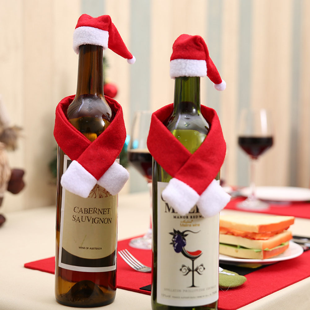 2PCS/SET Wine Bottle Cover Christmas Wine Hat Scarf Cover Set Kitchen Decoration For Home Dinner Party New Santa Claus Gift