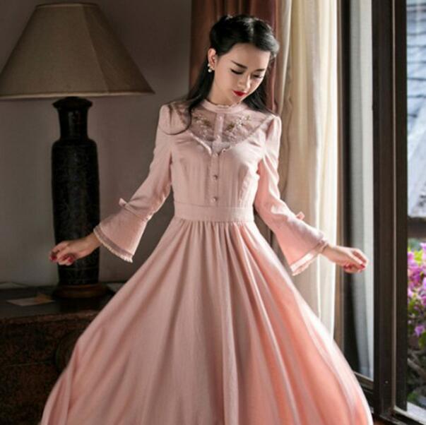 Mori girl Art vintage Wood Ear stand Collar Embroidered Mesh Cotton linen Dress Women Slim Maxi Dress spring autumn A29