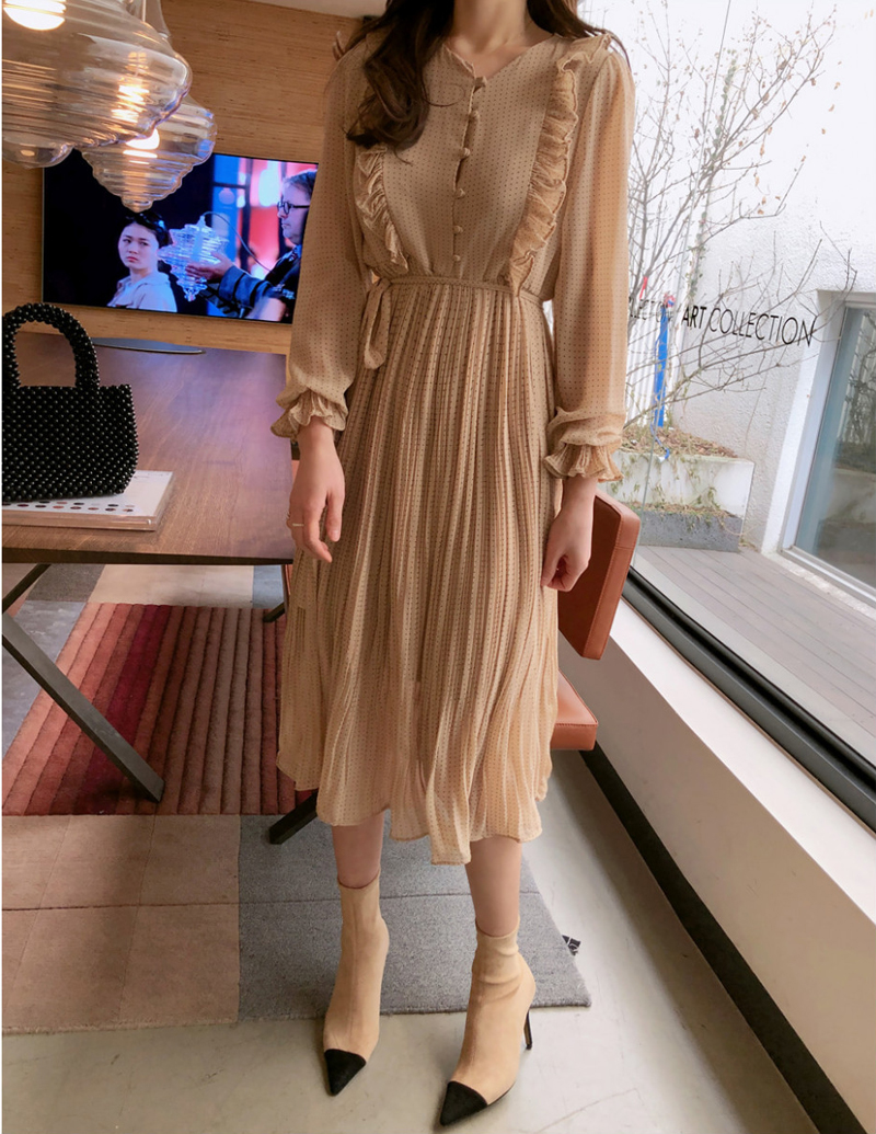 BGTEEVER Vintage O-neck Ruffles Chiffon Women Dress Flare Sleeve Polka Dot Lace Up Female Dress Two Layers Pleated Vestidos 10