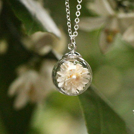 Necklace with Real Dried Flowers in a Glass Ball 1