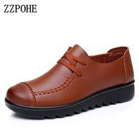 ZZPOHE Femmes Souple Appartements 2017 Printemps automne Véritable Cuir Femmes Chaussures mode casual Slip Sur confortable Laçage mère chaussures