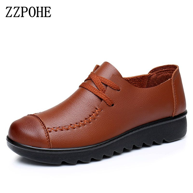 ZZPOHE Women Soft Flats 2017 Spring autumn Genuine Leather Women Shoes casual fashion Slip On comfortable Lacing mother shoes vtota fashion spring autumn women flats 2017 shoes woman slip on casual shoes soft comfortable women shoes new ladies shoes x48