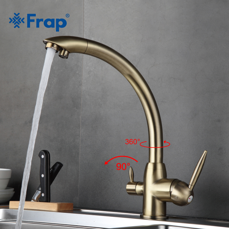 Frap Retro Style Kitchen Faucet Deck Mounted Mixer Tap 180 Degree rotation with Water Purification Features F4399-4