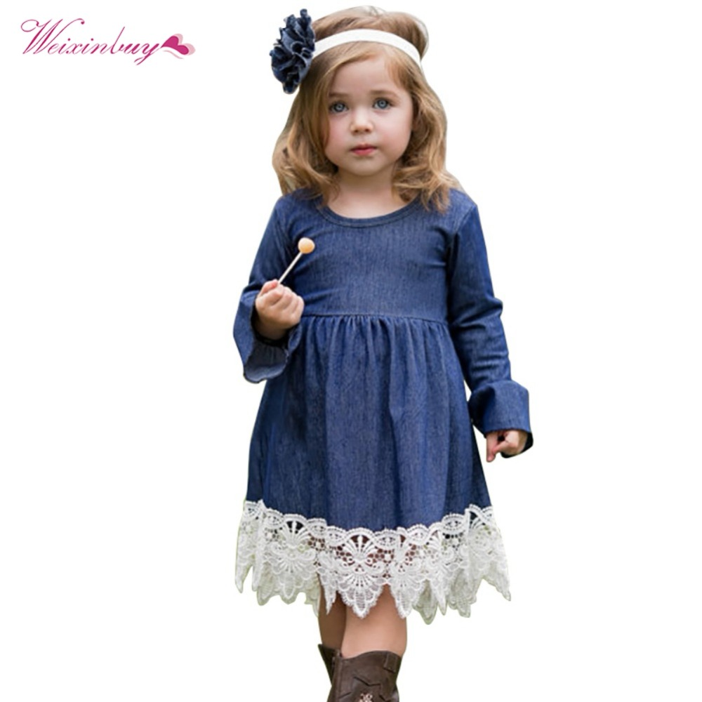 WEIXINBUY Spring Girls Princess Dress Children Clothing Denim Lace Evening Kids Long Sleeve Party Dresses Baby Girl Costume high quality girls baby bright leaf long sleeve lace dress princess bud silk dresses children s clothing wholesale