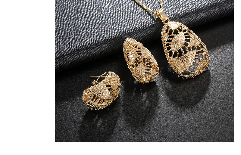 AYAYOO African Beads Jewelry Set 2018 Nigerian Wedding Women Jewelry Set Dubai Gold Color Vintage Bridal Necklace Set (5)