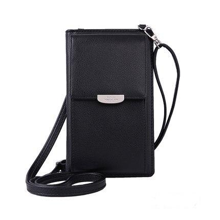 Новинка, Женский кошелек на каждый день, брендовый кошелек для мобильного телефона, большие держатели для карт, кошелек, сумочка, клатч, сумка на ремне через плечо - Цвет: black