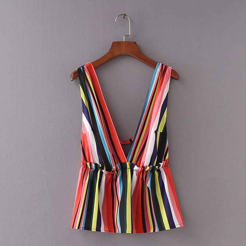 Sexy Tank Striped Top Backless V-Neck Summer Fashion Sleeveless Deep Ar with Ruffles