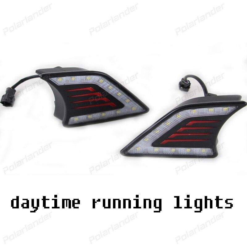2pcs/lot 12V Car styling DRL LED daytime driving running light daylight fog lamps Kit for T/OYOTA v/igo 2012-2015