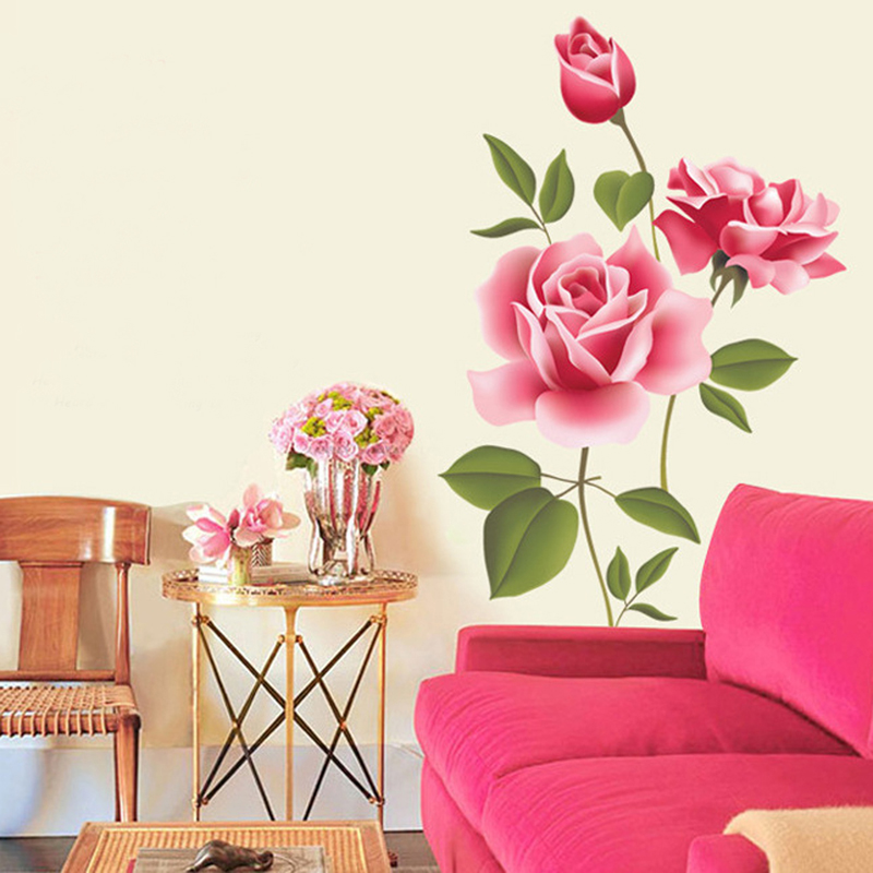 Bedroom Decorative Wall Stickers Flower PVC Material DIY Mural Art For Living Room Sofa Backdrop Office Decoration