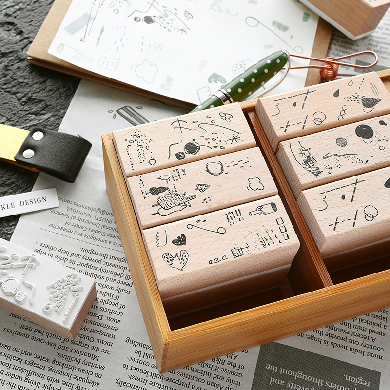 Natural Debris Wooden DIY Stamp Set Student Prize Promotional Gift Stationery