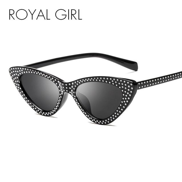 Royal Girl 2018 Baru Rhinestone Mata Kucing Kacamata Hitam Fashion Wanita Kacamata  Hitam Bingkai Kecil Merah db3d291ce0