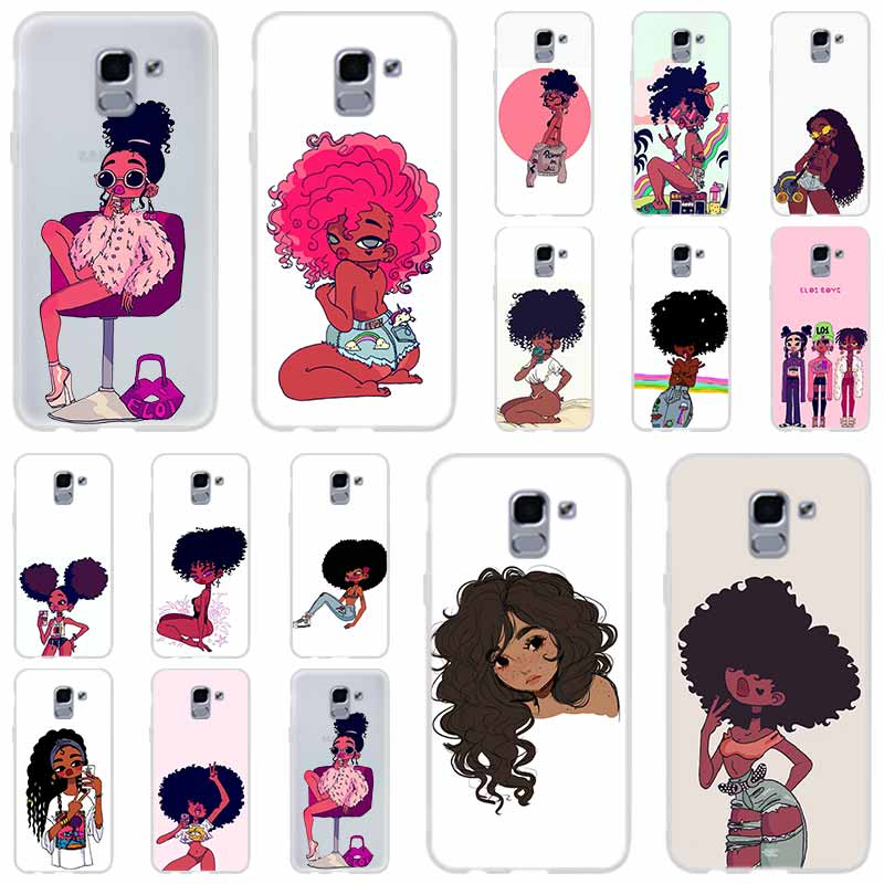 black <font><b>girl</b></font> negra <font><b>Sexy</b></font> Hot woman Beauty Afro Puffs For Phone <font><b>Case</b></font> Samsung <font><b>Galaxy</b></font> j6 J8 J7 <font><b>J5</b></font> J3 J4 Plus 2018 2017 <font><b>2016</b></font> J610 Prime image