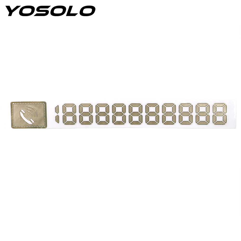 YOSOLO Metal DIY Phone Number Cards Temporary Parking Card Auto Accessories Parking Signs Notices Reflective Car Sticker