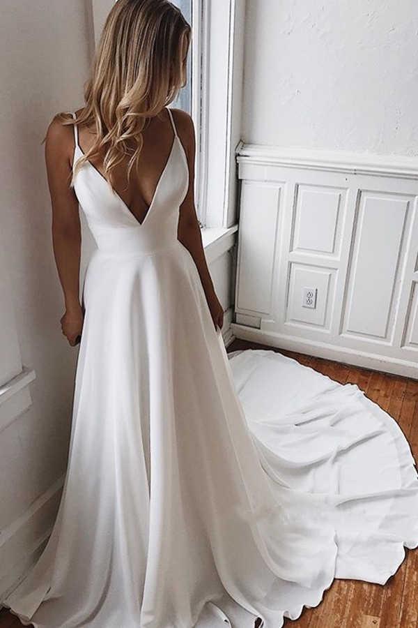 חוף חתונת שמלות קו V צוואר תחרת שיפון חתונת שמלת כלה שמלות בוהמי ספגטי רצועות שמלת הכלה פורמאלית