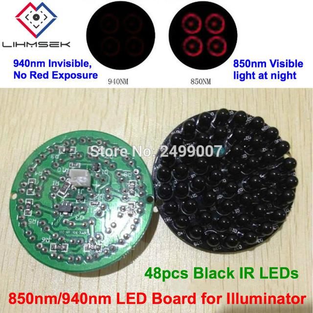 Lihmsek Invisible 940nm No Red Exposure at night 48pcs Black IR LEDs Infrared Light Board For CCTV IR Illuminator Lamp accessory