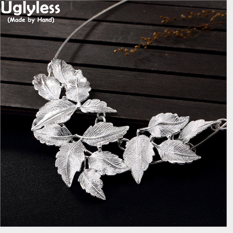 Uglyless Real 999 Fine Silver Ethnic Women Handmade Brushed Leaves Pendants without Chains Exotic Chokers Vintage Jewelry BijouxUglyless Real 999 Fine Silver Ethnic Women Handmade Brushed Leaves Pendants without Chains Exotic Chokers Vintage Jewelry Bijoux
