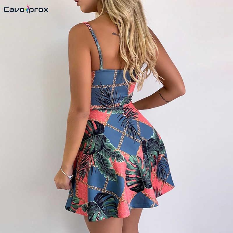 0b37904e73485 Women Tropical Print Spaghetti Strap Casual Dress Casual Loose Sleeveless  Above Knee Mini V-Neck Summer Dress