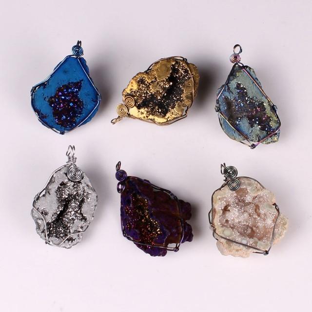 Fashion Natural Gray Gold Druzy Stone Geode Drusy Crystal Titanium
