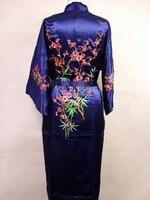 כחול כהה של הנשים סיניות משי חלוק אמבט שמלת רקמה בעבודת יד פרח יאקאטה קימונו כתונת לילה גודל sml xl xxl xxxl a132