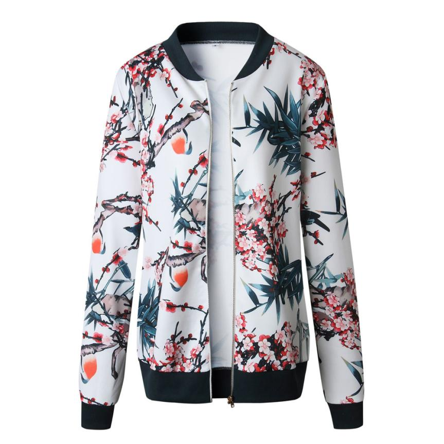 Outerwear & Coats Jackets Womens Ladies Retro Floral Zipper Up Bomber Outwear Casual coats and jackets women 18AUG10 16