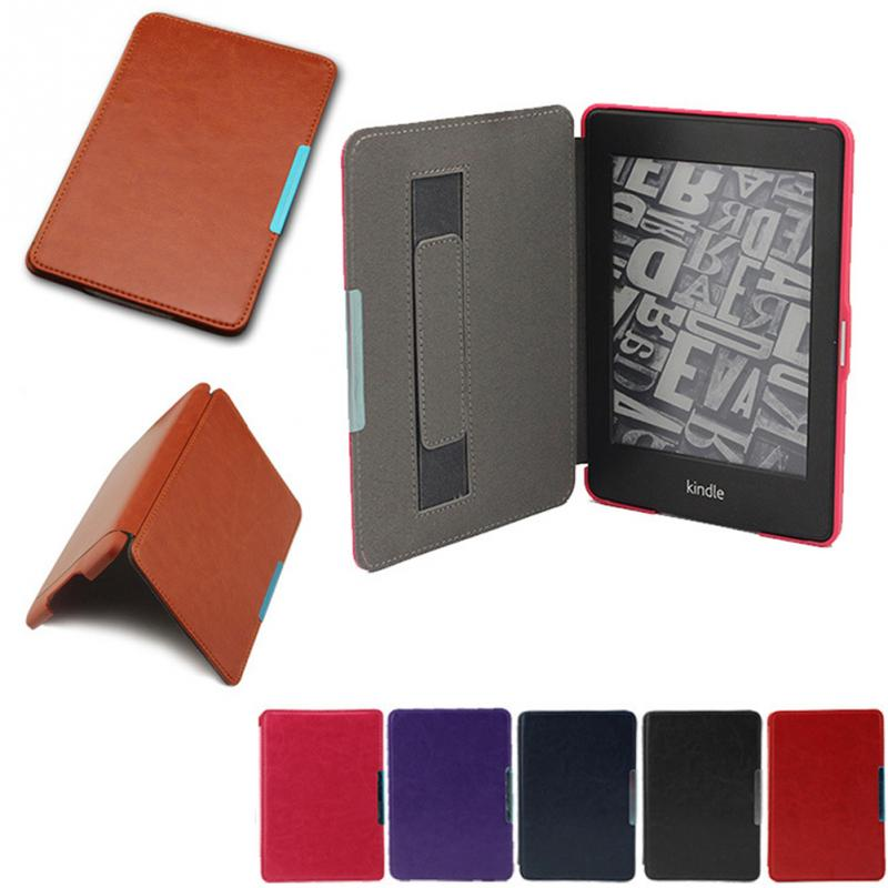 Simple Style Pure Color Magnetic Closure PU Leather Case Sleeve Pouch with Stand and Auto Sleep for Kindle Paperwhite1/2/3 buttoned closure back cut and sew cap sleeve top