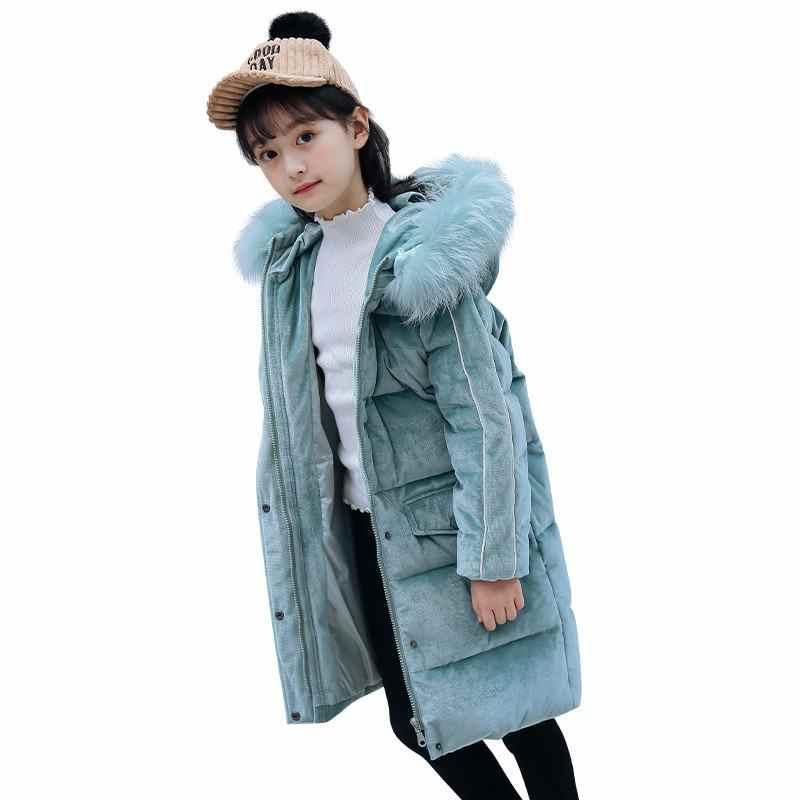 Коллекция 2019 года, зимние детские куртки на утином пуху для девочек, пальто парка с воротником из искусственного меха для подростков теплая верхняя одежда с капюшоном для девочек, W103