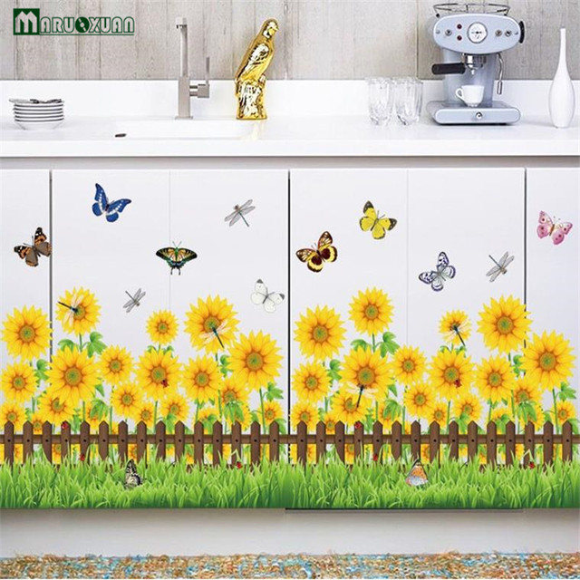Vinilos Paredes Stickers Skirting Line Waist Wall Sticker Sunflower ...