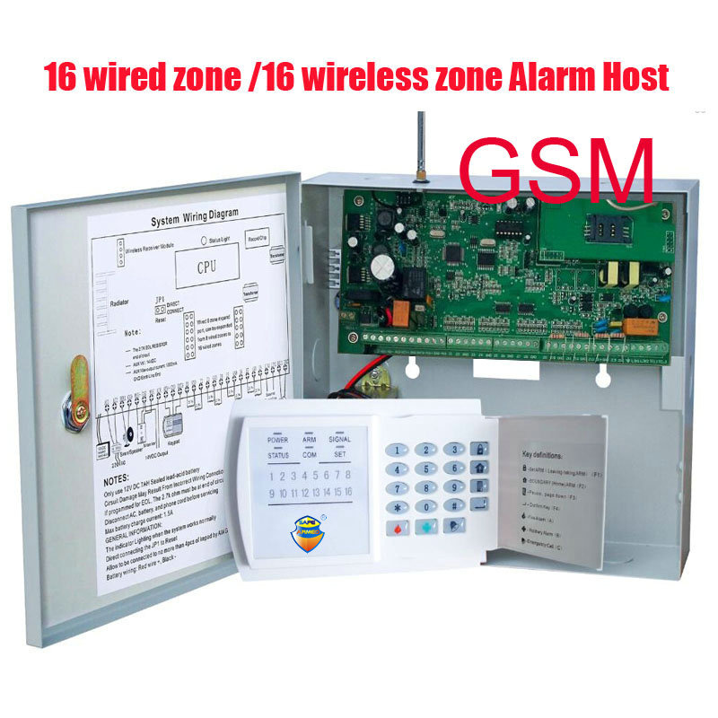 Бесплатная доставка GSM 16 зон проводной и 16 Беспроводной сигнализации Управление панели дома охранной сигнализации хост Беспроводной и пров