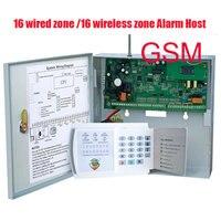 Darmowa Wysyłka funkcja 16 Strefy Przewodowe i 16 Bezprzewodowy Alarm GSM Panel Sterowania home security Alarm host przewodowych i bezprzewodowych