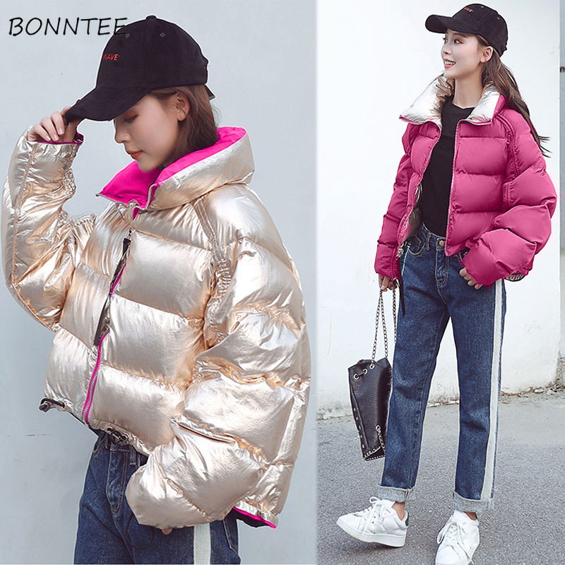 Parkas   Women High Quality Zipper Short Chic Double Sided Winter Coat Thick Warm Soft Trendy Pocket Womens Korean Coats All-match
