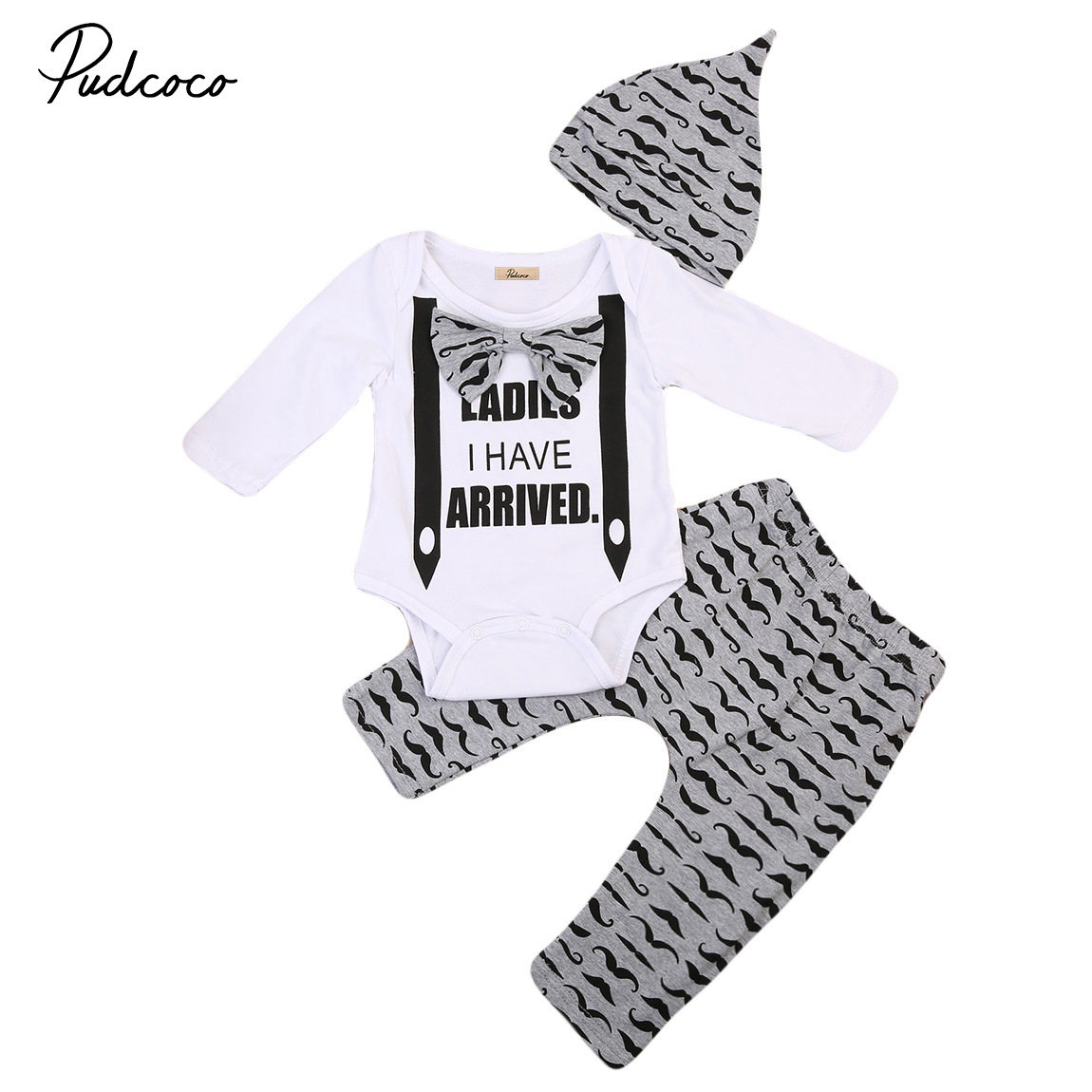 3pcs Newborn Babys Outfits Sets Toddler Baby Boy Long Sleeve Romper Animal Print Baby Jumper Long Pants Cute Warm Hats Clothes