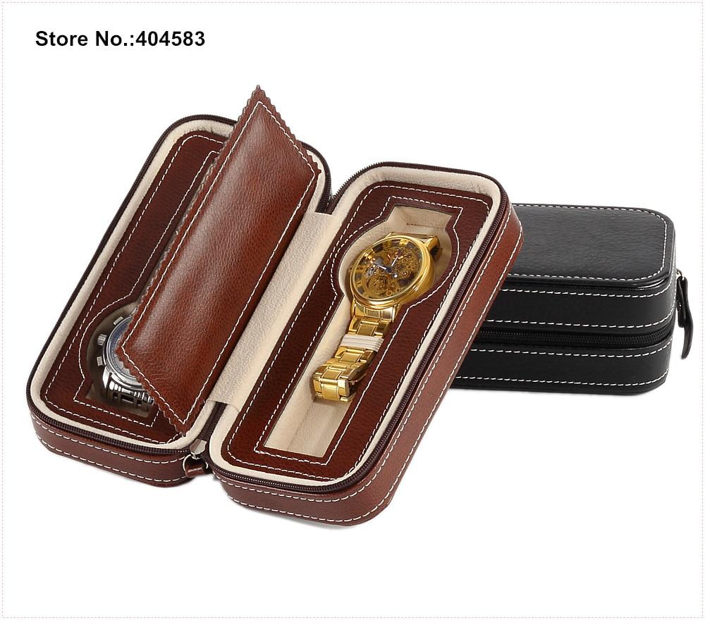 High Grade Zippered 2 Slot Personalized Luxury Portable Brown Black PU Leather Bracelet Watch Storage Travel Case Box Bag