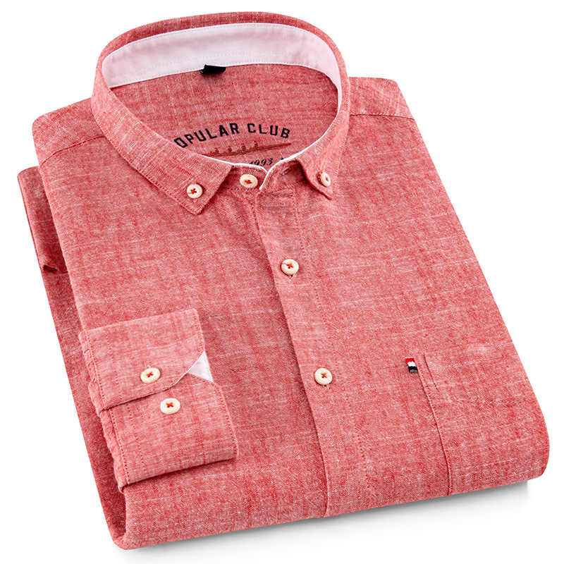 248067b8a07d Cotton 80% + Linen 20% Men Shirt Long Sleeve Shirt Men Pure Colored Casual