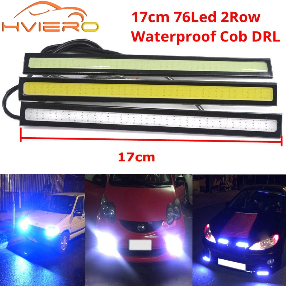 2X 17cm White Blue COB DRL LED DC 12V 76 Leds 2Rows Daytime Running Light Auto Lamp External Lights Waterproof Fog Lamp Car Led 1wx5 70 90lm 6000 6700k white 5 led car daytime running light black dc 12v pair