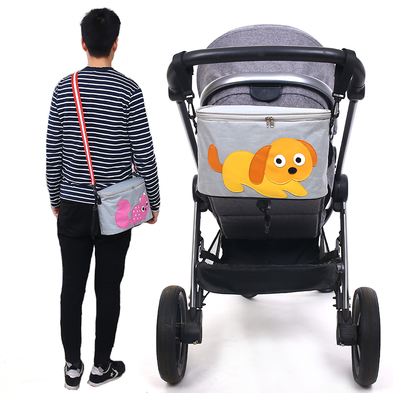 Cartoon Thermal Insulation Baby Diaper Bags For Strollers Waterproof Nappy Changing Bags Mommy Stroller Bags Cooler Bags