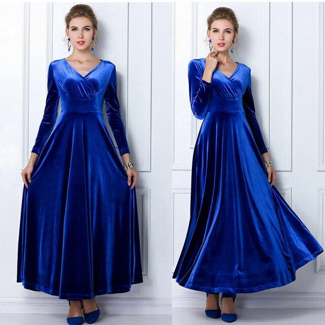 32510dfe2 Maxi Plus Size Vestido de Inverno Mulheres de Veludo Plissado Vestido de  Manga Comprida Vestido de