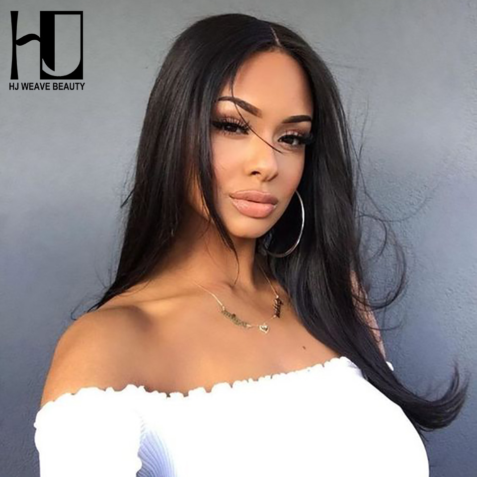HJ WEAVE BEAUTY Full Lace Human Hair Wigs Straight Brazilian Remy Hair Swiss Lace Pre Plucked Natural Hairline Free Shipping