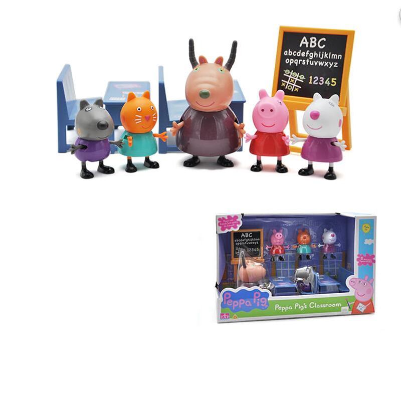 Genuine Peppa Pig Toys Classroom George Antelope Teacher Class Learning Early Educational Scene Action Figures Toy for Children in Action Toy Figures from Toys Hobbies