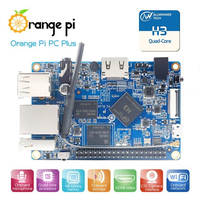 Orange Pi PC Plus 1GB + 8GB Emmc Flash Miniเปิด Sourceคณะกรรมการเดี่ยว,สนับสนุนพอร์ตEthernet 100M/Wifi/กล้อง/Hdmi/IR/MIC