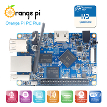 Orange Pi PC Plus 1GB + 8GB Emmc Flash Mini لوحة واحدة مفتوحة المصدر ، ودعم 100M منفذ إيثرنت/واي فاي/كاميرا/Hdmi/IR/هيئة التصنيع العسكري