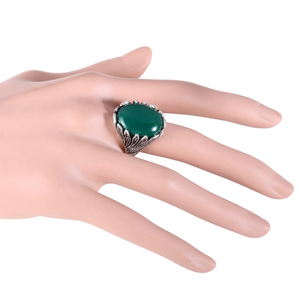 Joyme Bohemia Retro Red Green Resin Women Rings Silver Color Smart ...