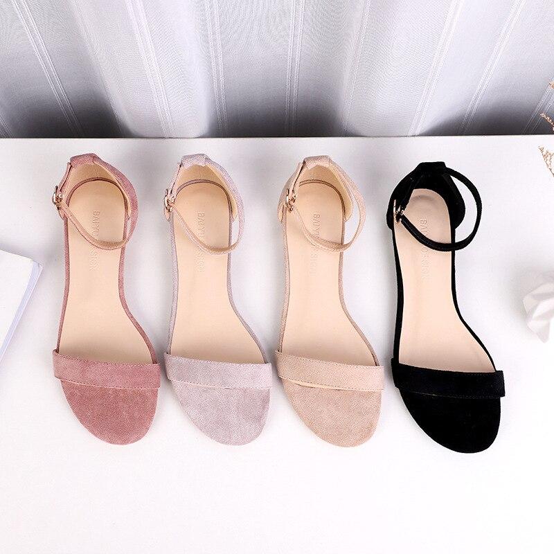 Women Sandals Suede 2019 Platform Square Head 1.5CM Square Heel Shoes For Women Heels Sandalias Summer Shoes Flock Sandals