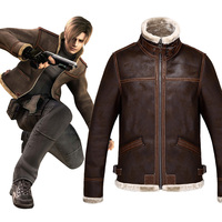 Games Resident Evil 4 Leon Scott Kennedy Costumes Winter men's heavy jackets Europe and America Fashionable men add velvet coat