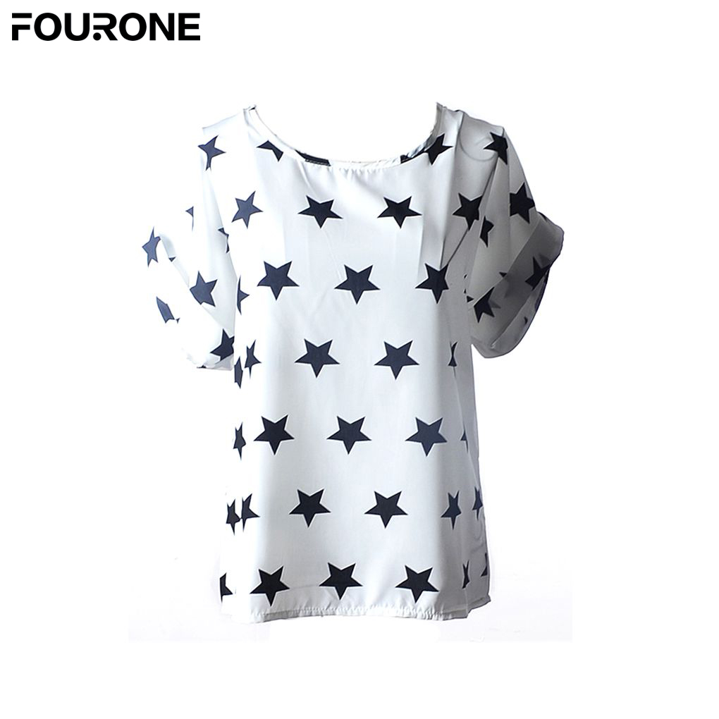 Fashion Hot Sale Chiffon T Shirts summer Loose Ladies comfortable T-shirts Striped heart more shape for choose wholesale/reiail