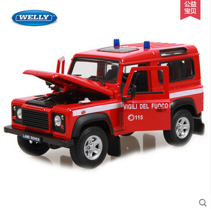 Free Shipping Defender 1:24 welly Original car alloy model Polices car Fire truck baby toy SUV Red