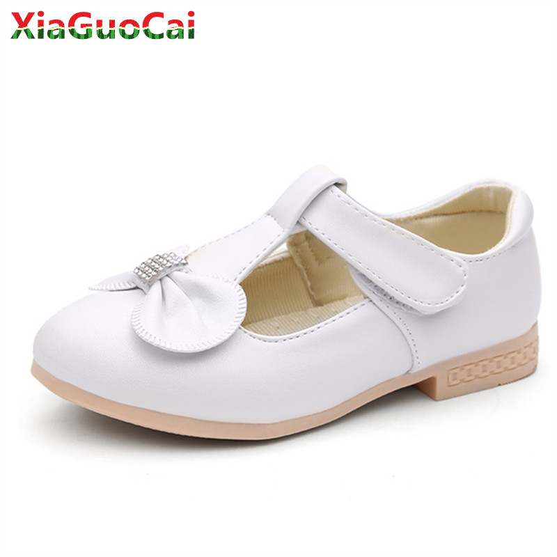 Children Girls PU Leather Princess Shoes Soft Bottom Bow Low Heel Kids Sneakers Bow Breathable Party Dance Performance Shoes A71