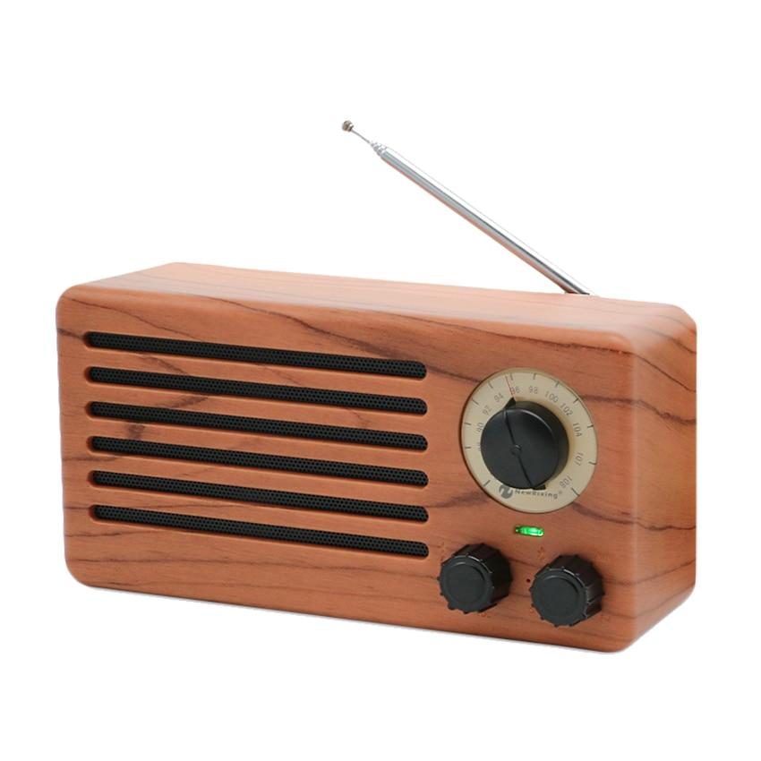 Tabletop High Sensitivity Anti-interferen FM Radio Vintage Retro Portable Speaker Built-in Mircphone Wood Grain Hi-Fi Sound vintage wood grain flannel skidproof rug